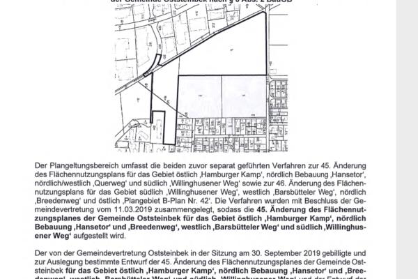Screenshot - Auszug Amtliche Bekanntmachung 15/2020 - (c) Gemeinde Oststeinbek